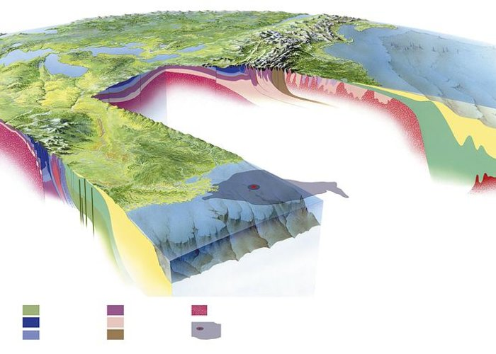 Continent Greeting Card featuring the photograph North American Geology And Oil Slick by Gary Hincks