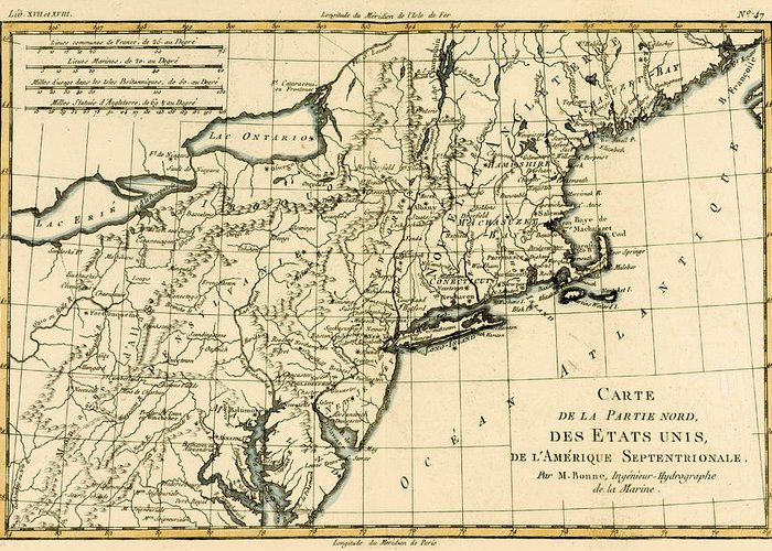 Engraving Greeting Card featuring the drawing Northeast Coast Of America by Guillaume Raynal