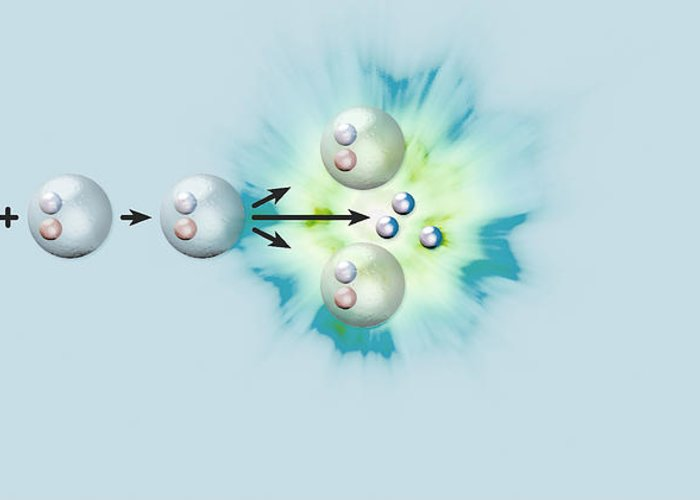Reaction Greeting Card featuring the photograph Nuclear Fission Reaction, Artwork by Claus Lunau