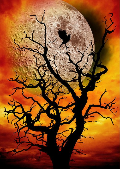Surreal Greeting Card featuring the photograph Nuclear Moonrise by Meirion Matthias
