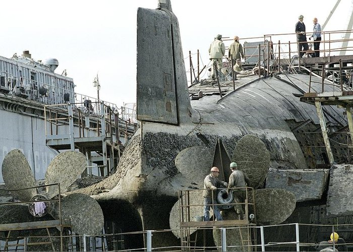 Human Greeting Card featuring the photograph Nuclear Submarine Maintenance by Ria Novosti