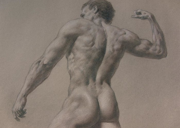 Man Greeting Card featuring the drawing Nude - 8 A by Valeriy Mavlo