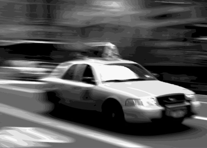 Taxi Greeting Card featuring the photograph Nyc Taxi Bw16 by Scott Kelley