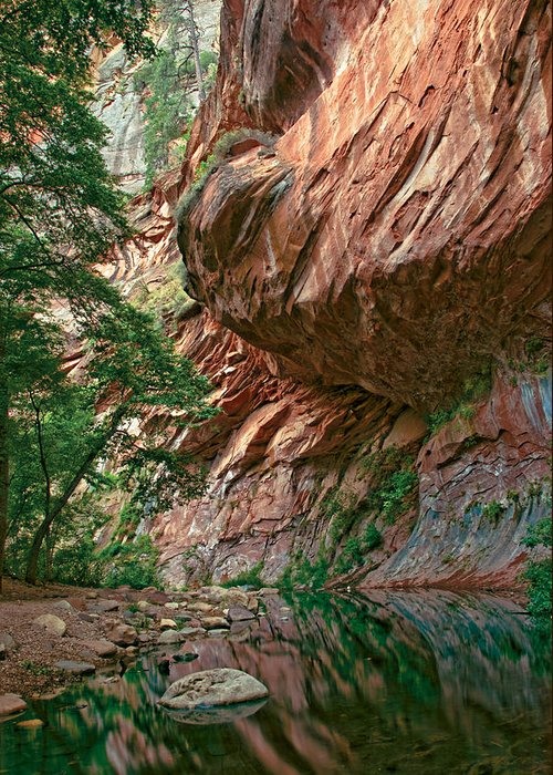 Red Greeting Card featuring the photograph Oak Creek Canyon Walls by Dave Dilli