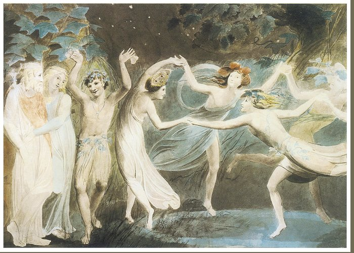 William Blake Greeting Card featuring the painting Oberon Titania And Puck With Fairies Dancing by William Blake
