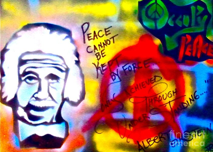 Occupy Greeting Card featuring the painting Occupy Einstein by Tony B Conscious