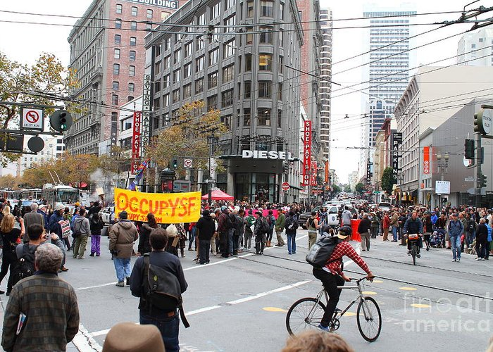 Occupy Greeting Card featuring the photograph Occupy Sf . 7d9733 by Wingsdomain Art and Photography
