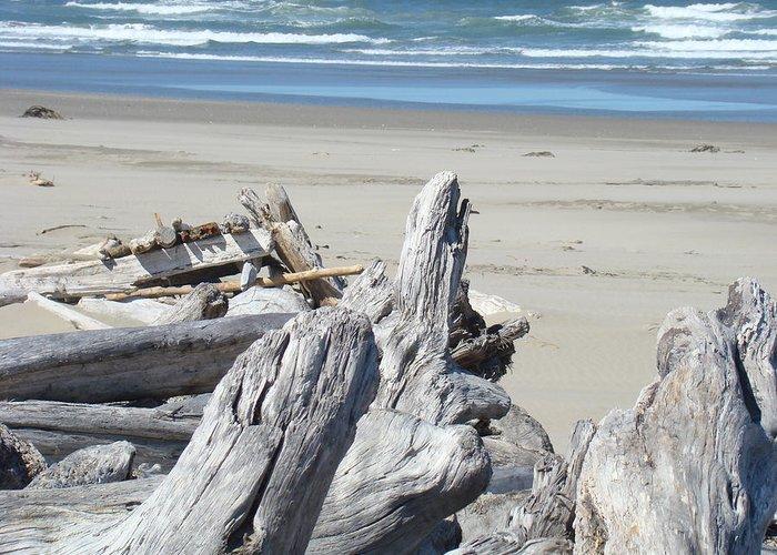 Driftwood Greeting Card featuring the photograph Ocean Beach Driftwood Art Prints Coastal Shore by Baslee Troutman