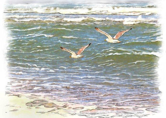 Cindy Greeting Card featuring the painting Ocean Seagulls by Cindy Wright