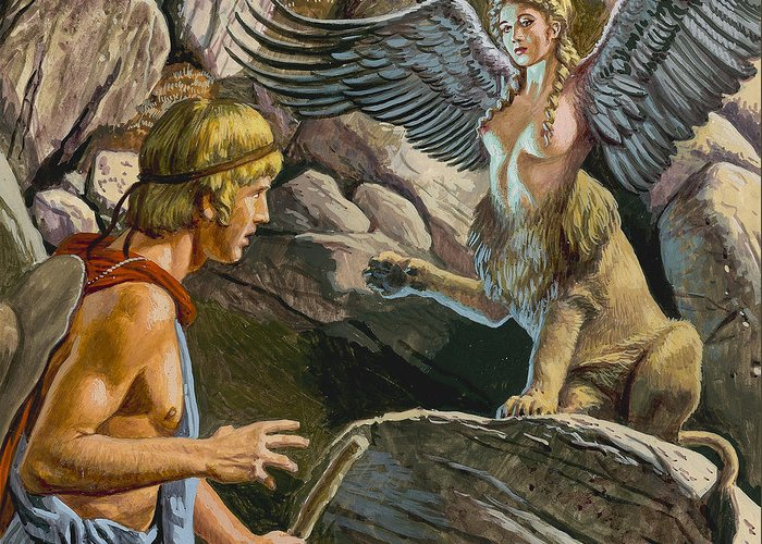Thebes; Thebans; Lion; Beauty; Greek Legend; Mythology; Greece; Ancient Greece; Confrontation; Male; Thinking; Pensive; Creature; Riddle; Oedipe Greeting Card featuring the painting Oedipus Encountering The Sphinx by Roger Payne
