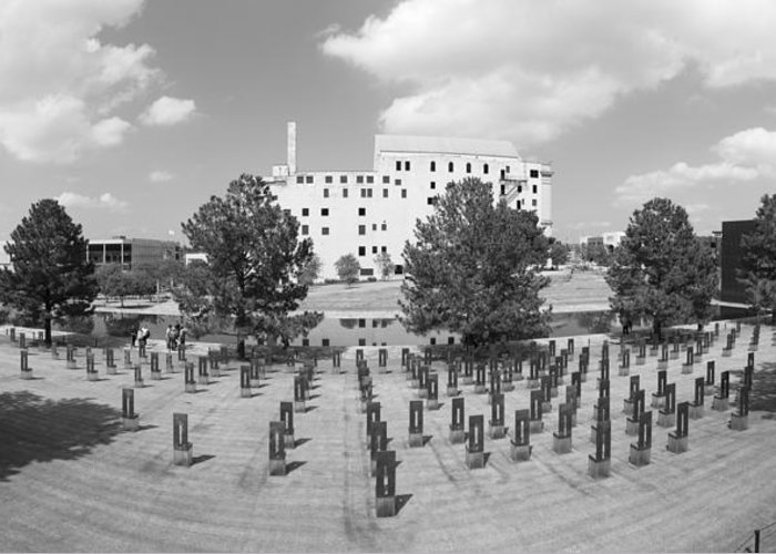National Greeting Card featuring the photograph Oklahoma City National Memorial Black And White by Ricky Barnard