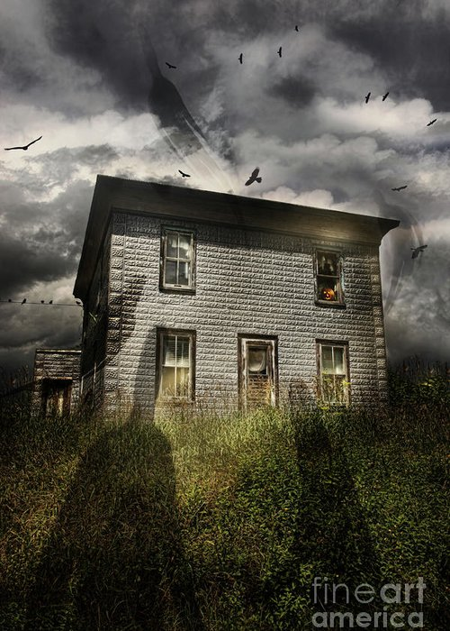 Aged Greeting Card featuring the photograph Old Ababdoned House With Flying Ghosts by Sandra Cunningham