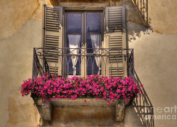 Balcony Greeting Card featuring the photograph Old Balcony With Red Flowers by Mats Silvan