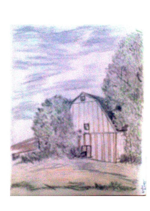 Barn Greeting Card featuring the drawing Old Barn by De Beall