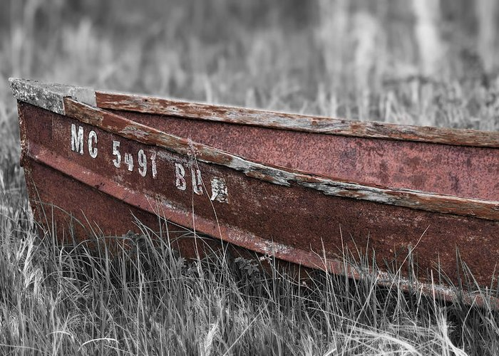 Antique Boat Greeting Card featuring the photograph Old Boat Washed Ashore by Joe Gee