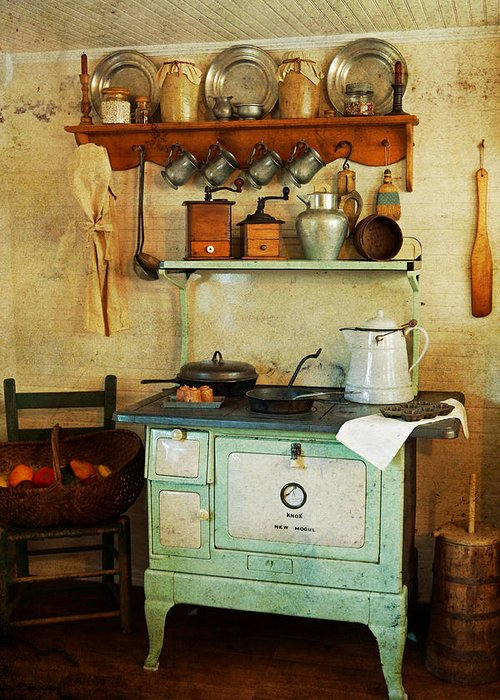Antiques Greeting Card featuring the photograph Old Cast Iron Cook Stove by Carmen Del Valle