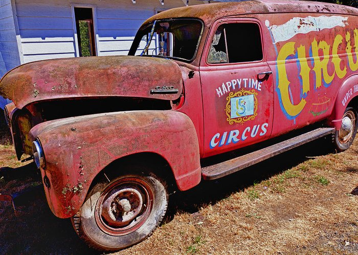 Red Greeting Card featuring the photograph Old Circus Truck by Garry Gay