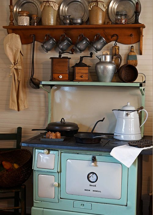 Antiques Greeting Card featuring the photograph Old Cook Stove by Carmen Del Valle