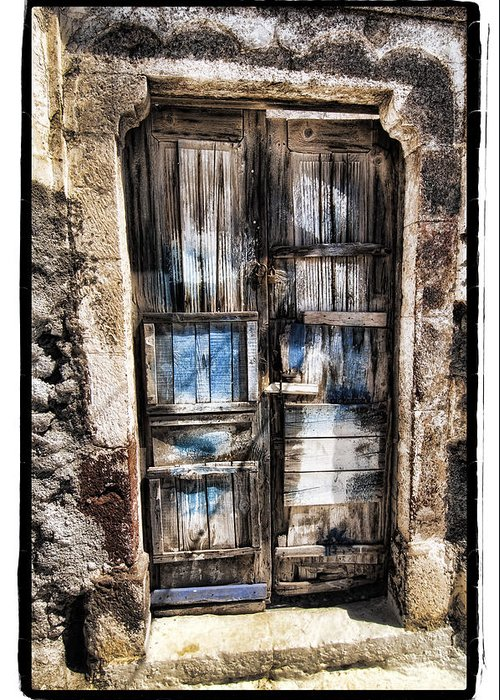 Art Greeting Card featuring the pyrography Old Door by Mauro Celotti