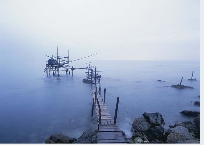 Water Greeting Card featuring the photograph Old Fishing Platform At Dusk by Axiom Photographic