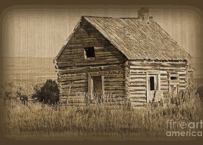 Fine Art Greeting Card featuring the photograph Old Hunting Cabin - Wyoming by Donna Greene