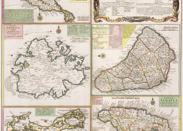 Maps Greeting Card featuring the drawing Old Map Of English Colonies In The Caribbean by German School