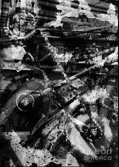 Abstract Greeting Card featuring the photograph Old Mechanism by Igor Kislev