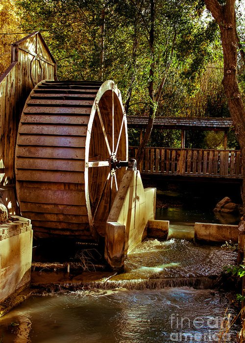 Water Wheel Greeting Card featuring the photograph Old Mill Park Wheel by Robert Bales