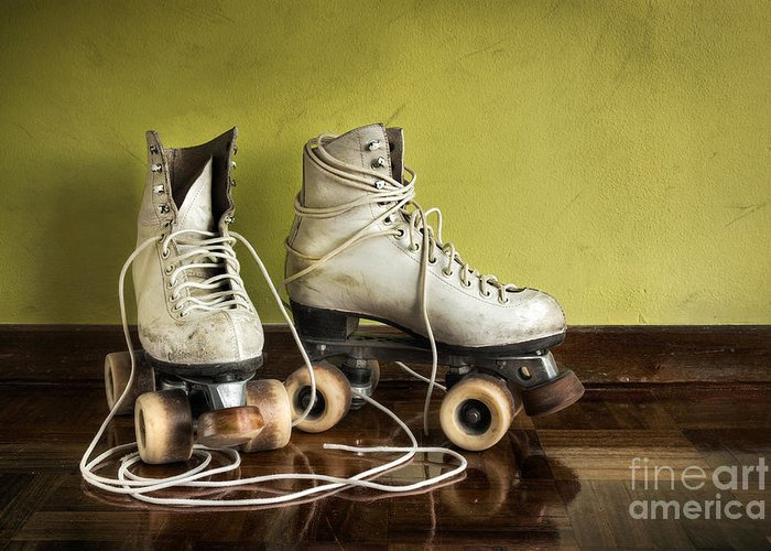 Active Greeting Card featuring the photograph Old Roller-skates by Carlos Caetano