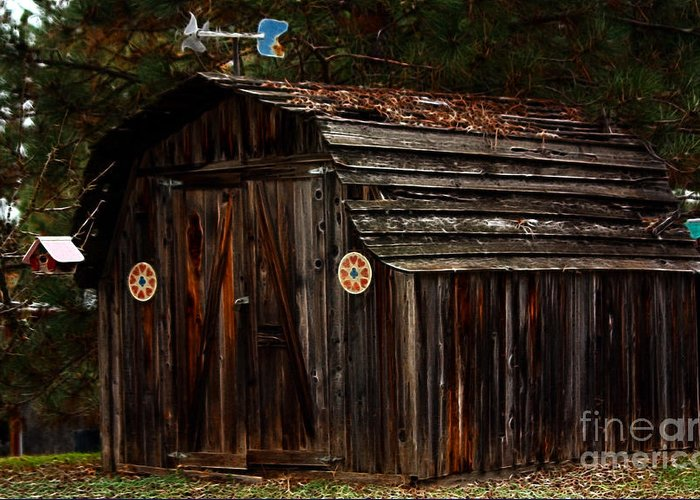 Shed Greeting Card featuring the photograph Old Shed Oakhurst by Marjorie Imbeau