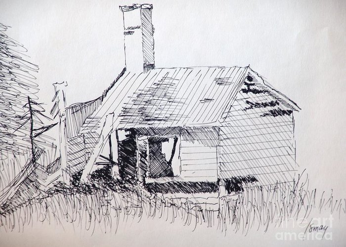 Shed Greeting Card featuring the drawing Old Shed by Rod Ismay