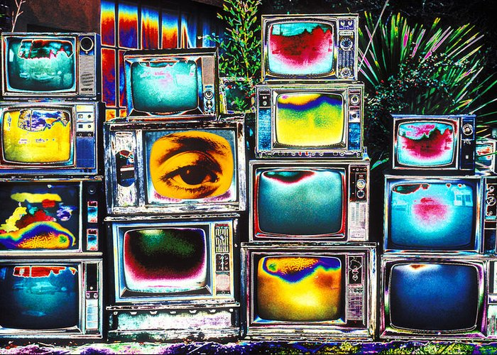 Old Tv's Abstract Greeting Card featuring the photograph Old Tv's Abstract by Garry Gay