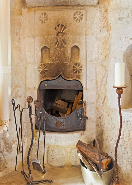 Interesting Greeting Card featuring the photograph Olde Worlde Fireplace In A Cave by Kantilal Patel