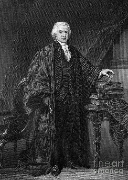 1790s Greeting Card featuring the photograph Olvier Ellsworth (1745-1807). Chief Justice Of The United States Supreme Court, 1796-1799. Steel Engraving, 1863 by Granger