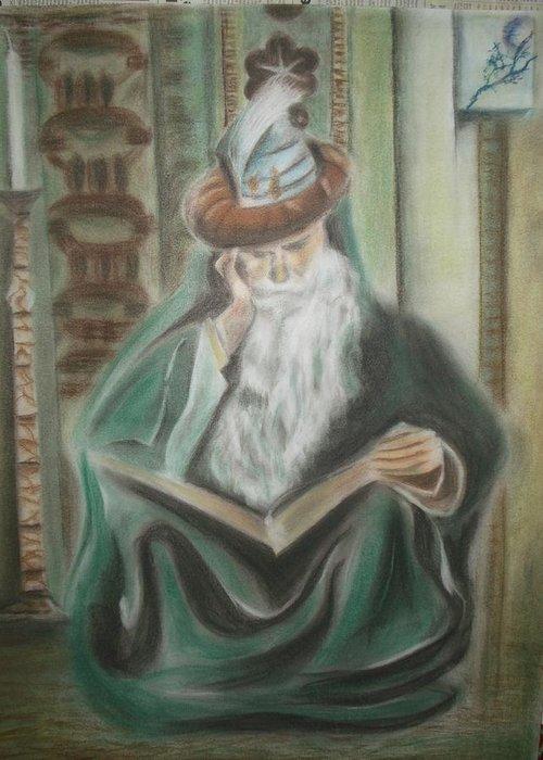 Omar Khayyam Greeting Card featuring the pastel Omar Khayyam by Prasenjit Dhar