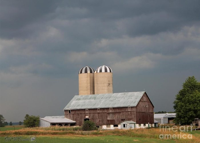 Dark Greeting Card featuring the photograph Ominous Clouds Over The Barn by J McCombie