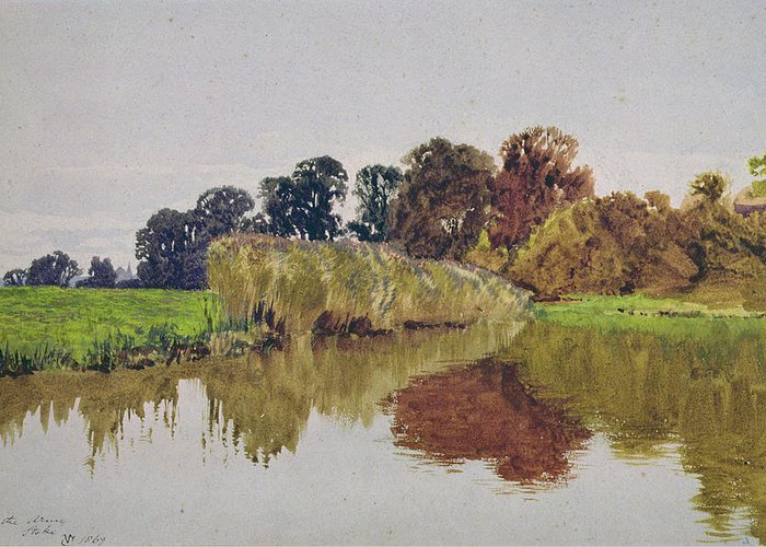 Meadow; River; Landscape Greeting Card featuring the painting On The Arun Stoke Sussex by George Vicat Cole