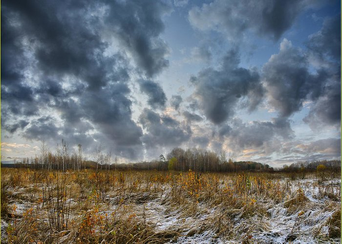 Landscape Greeting Card featuring the photograph One Autumn Day by Vladimir Kholostykh