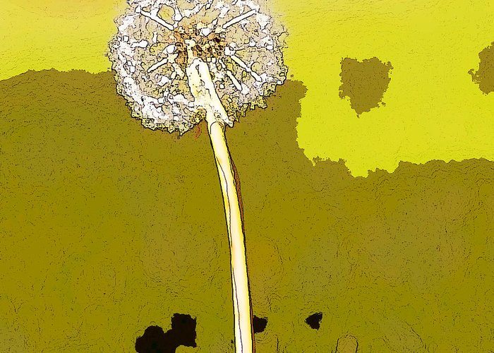 Dandelion Greeting Card featuring the painting One Day Your Wish Will Come True by Artist and Photographer Laura Wrede