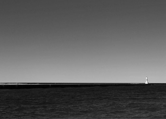 Michigan Greeting Card featuring the photograph Onekama Pier In Black And White by Twenty Two North Photography