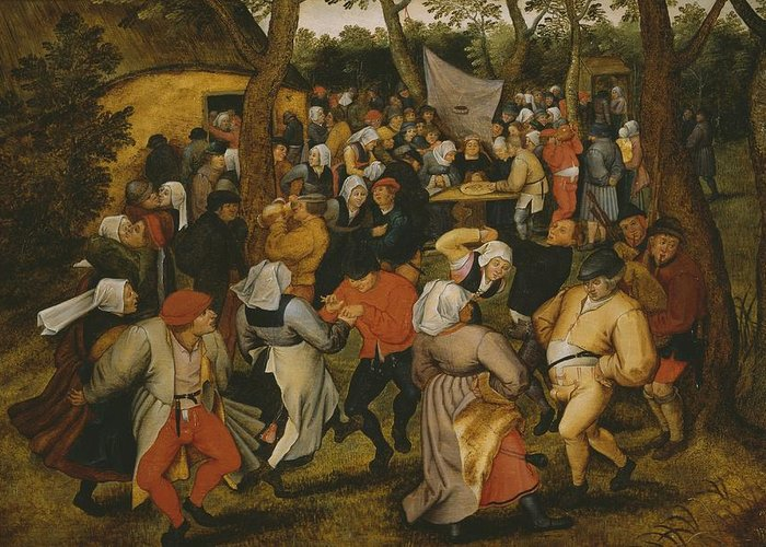 Male; Female; Couple; Couples; Peasant; Peasants; Farmer; Farmers; Farm; Bride; Table; Money; Dancer; Dancers; Celebration; Celebrating; Bagpipes; Folk; Rural; Countryside; Openair; Open Air Greeting Card featuring the painting Open Air Wedding Dance by Pieter the Younger Brueghel