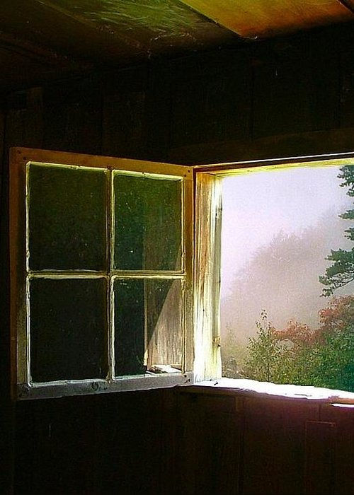 Log Cabin Greeting Card featuring the photograph Open Cabin Window In Spring by Julie Dant