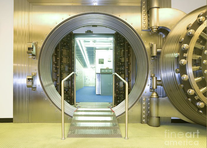 Architectural Greeting Card featuring the photograph Open Vault At A Bank by Adam Crowley