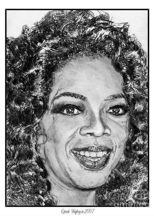 Oprah Winfrey Greeting Card featuring the drawing Oprah Winfrey In 2007 by J McCombie