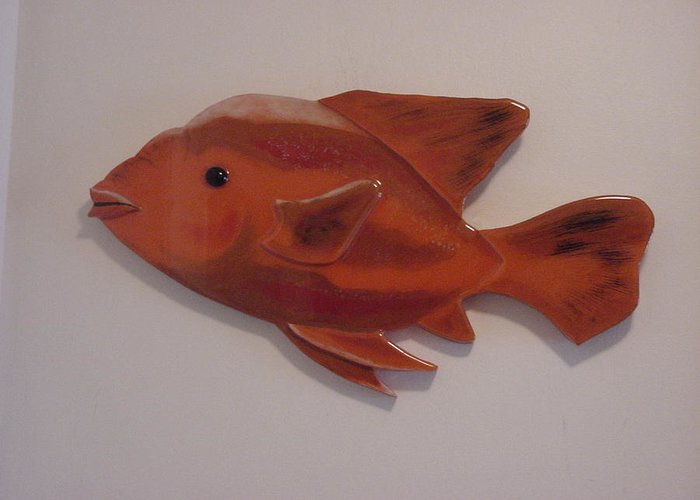 Fish Greeting Card featuring the mixed media Orange Fish by Val Oconnor