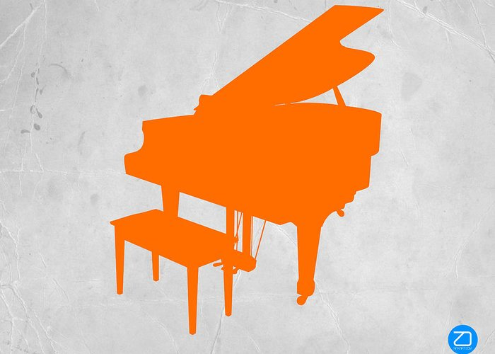 Piano Greeting Card featuring the photograph Orange Piano by Naxart Studio