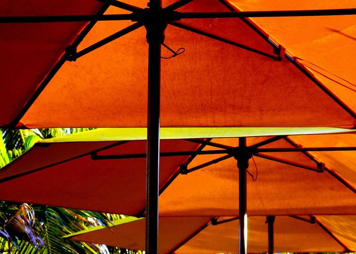 Beaches Greeting Card featuring the photograph Orange Sliced Umbrellas by Karen Wiles