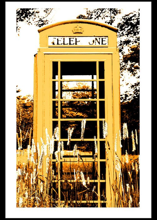 Red Telephone Booth Greeting Card featuring the photograph Orange Telephone Booth In The Field by Kara Ray