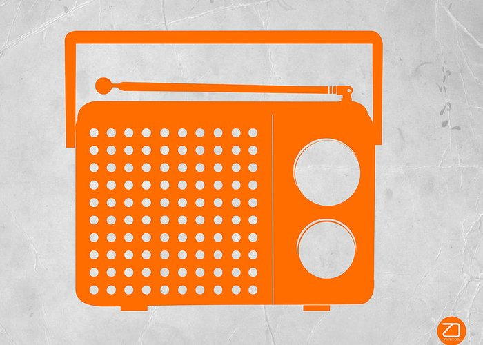 Kids Art Greeting Card featuring the drawing Orange Transistor Radio by Naxart Studio