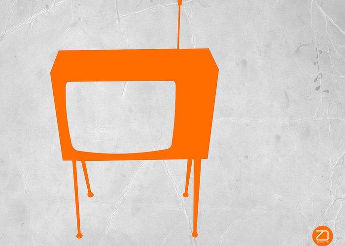 Kids Art Greeting Card featuring the drawing Orange Tv by Naxart Studio